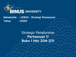 Strategic Relationship Pertemuan 11 Buku 1 Hal: 206-231