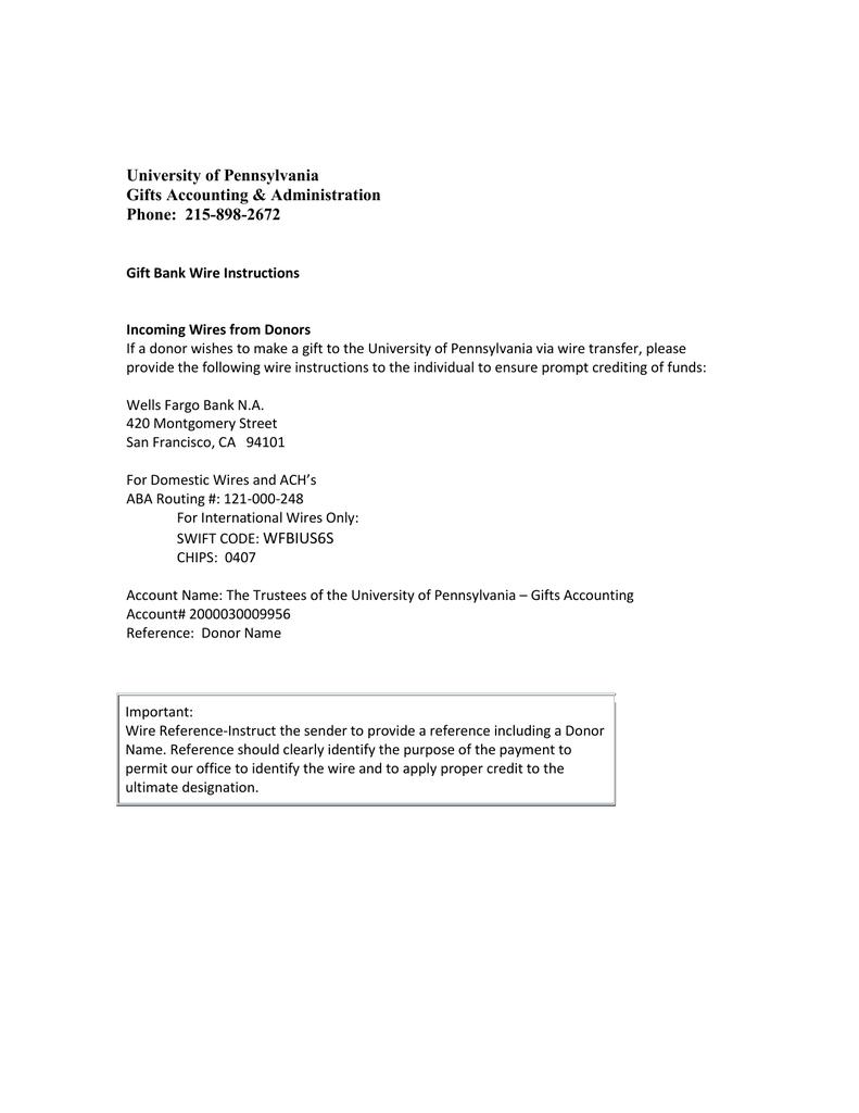 Wells Fargo Wiring Instructions Address on