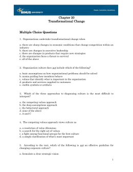 Chapter 20 Transformational Change  Multiple Choice Questions