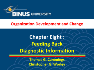 Chapter Eight : Feeding Back Diagnostic Information Organization Development and Change