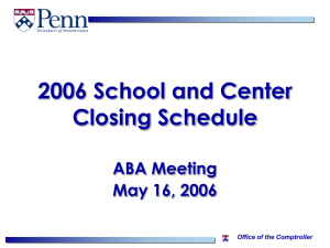 2006 School and Center Closing Schedule
