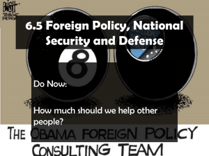 Foreign Policy, National Security, Defense