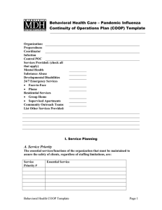Behavioral Health Care - Pandemic Influenza Continuity of Operations Plan (COOP) Template (Word: 137KB/8 pages)