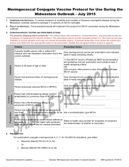 Meningococcal Conjugate Vaccine Protocol for Use During the Midwestern Outbreak - July 2015 (Word)