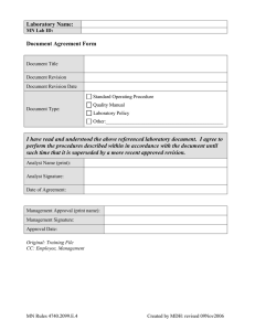 Laboratory Name:  Document Agreement Form