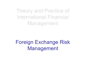 Theory and Practice of International Financial Management Foreign Exchange Risk