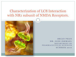 Characterization of LC8 Interaction with NR1 subunit of NMDA Receptors.