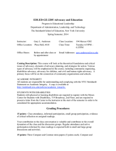 Advocacy and Education syllabus