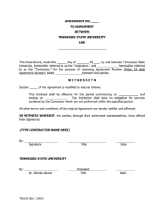 AMENDMENT NO. ____ TO AGREEMENT BETWEEN TENNESSEE STATE UNIVERSITY