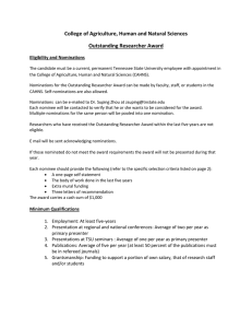 Outstanding Research Faculty Award Criteria
