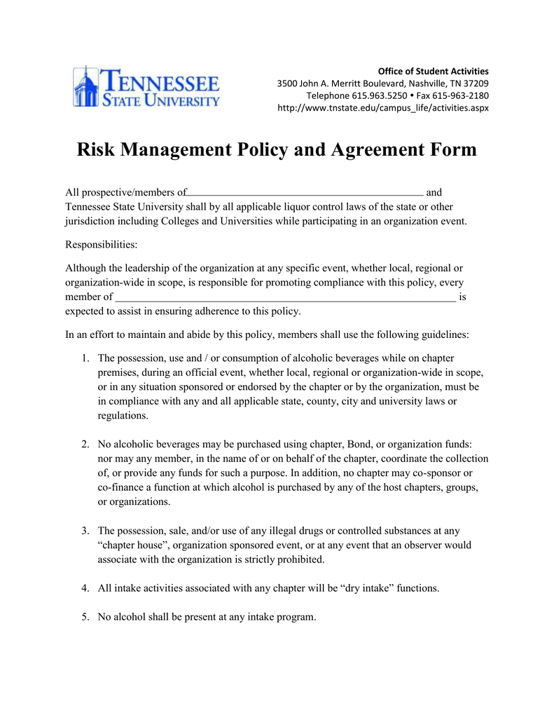 Risk Management Policy And Agreement Form