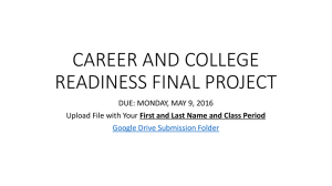 CAREER AND COLLEGE READINESS FINAL PROJECT