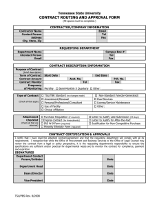 CONTRACT ROUTING AND APPROVAL FORM Tennessee State University CONTRACTOR/COMPANY INFORMATION REQUESTING DEPARTMENT