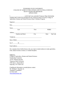 TENNESSEE STATE UNIVERSITY COLLEGE OF AGRICULTURE, HUMAN AND NATURAL SCIENCES APPLICATION