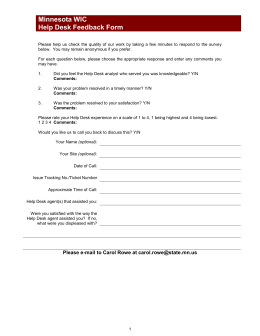 MN WIC Help Desk Feedback Form (WORD)