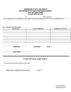TENNESSEE STATE UNIVERSITY DEPARTMENT OF FACILITIES MANAGEMENT KEY RETURN FORM