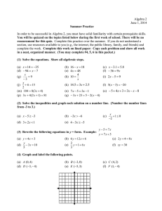 Algebra 2 summerpacket2014