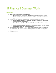 IB Physics 1 Summer Work Directions