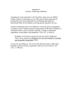Appendix A Assistive Technology Definition  Individuals with Disabilities Education Act