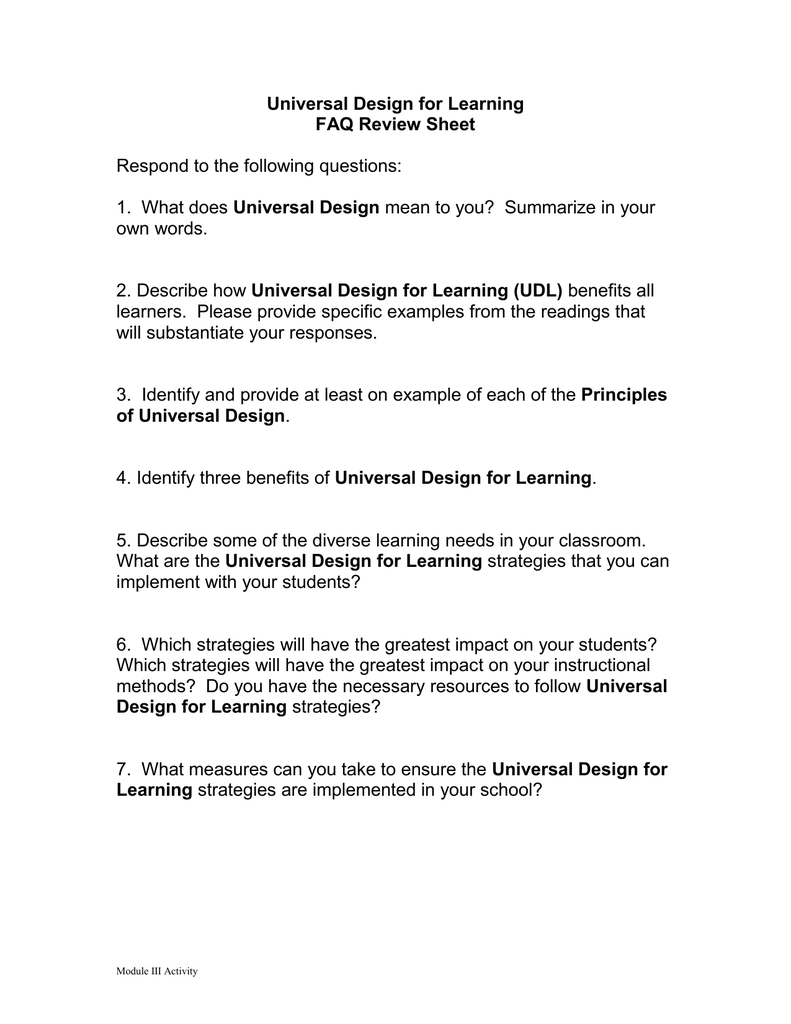 Universal Design For Learning Faq Review Sheet Respond To The