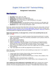 English 3105 and 3107: Technical Writing Vital Statistics Assignment: Instructions