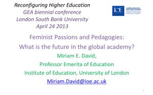 Feminist passions and pedagogies: Miriam David [PPT 349.00KB]