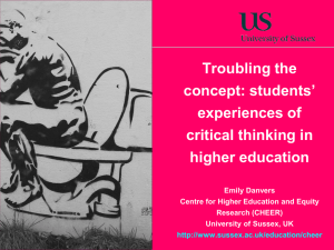 Troubling the concept: Students' experiences of critical thinking in higher education [PPTX 1.24MB]