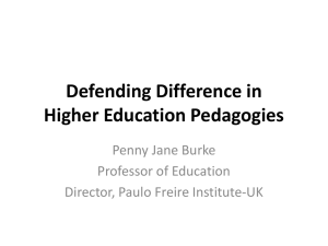 BERA 2013: Defending difference in higher education pedagogies - Penny Jane Burke [PPT 3.77MB]