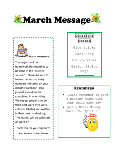 March Message  Donations Needed