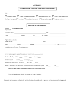 Allocation for Space Request Form