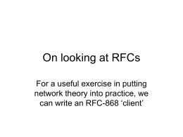 On looking at RFCs For a useful exercise in putting 868 'client'