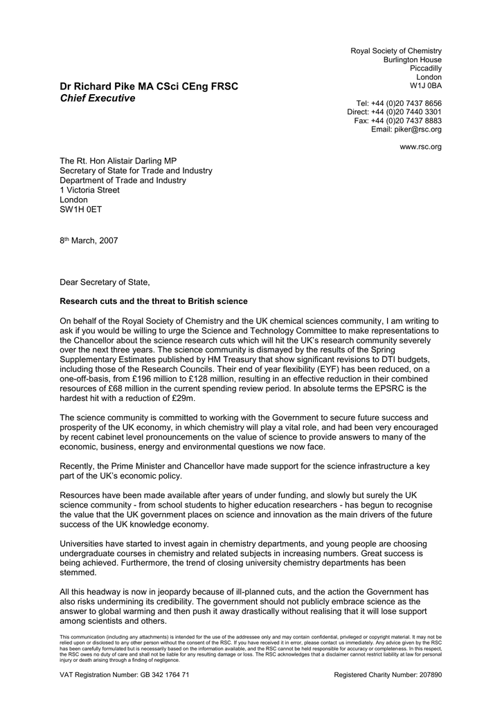 Dr Richard Pike's letter to Alistair Darling MP
