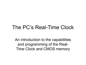 The PC's Real-Time Clock An introduction to the capabilities