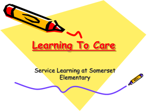 Learning To Care Service Learning at Somerset Elementary
