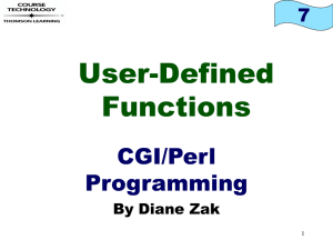 User-Defined Functions CGI/Perl Programming