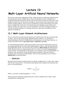 Lecture 13 Multi-Layer Artificial Neural Networks