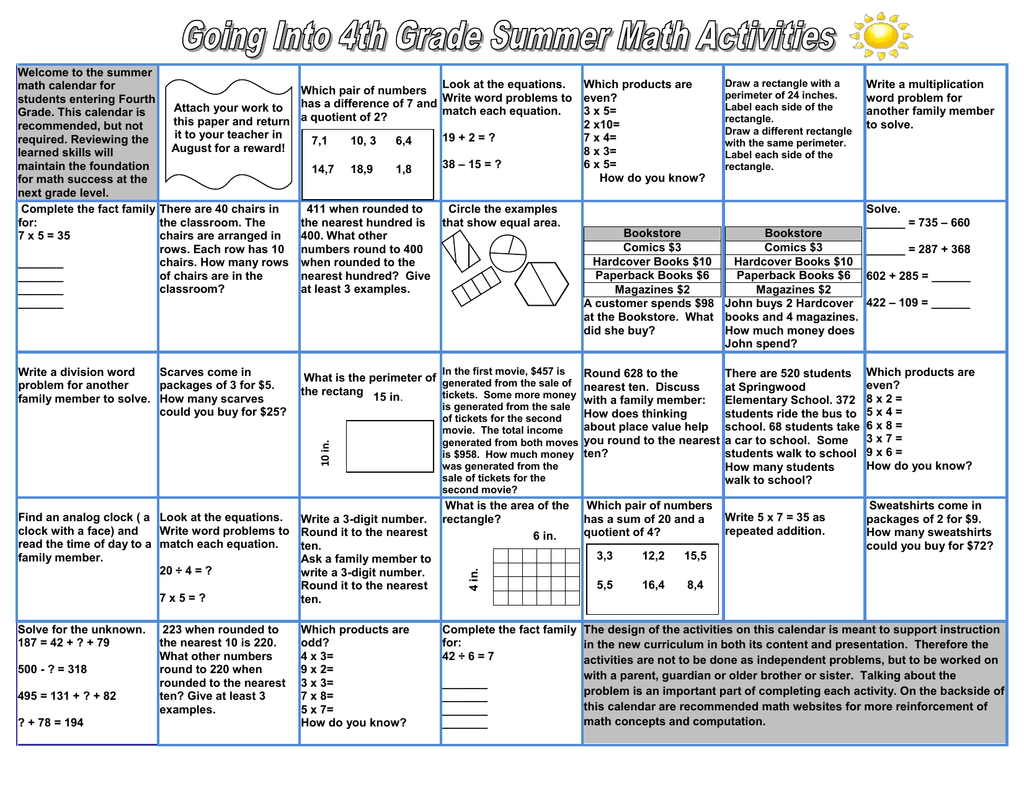 Summer Math Packet 2015 (Going into 4th grade)