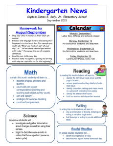 Kindergarten News Homework for August/September Captain James E. Daly, Jr. Elementary School