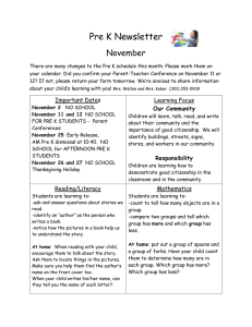 Pre K Newsletter November