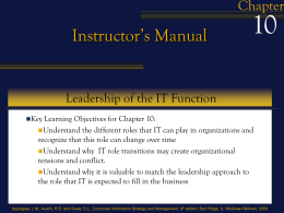 10 Instructor's Manual Chapter Leadership of the IT Function