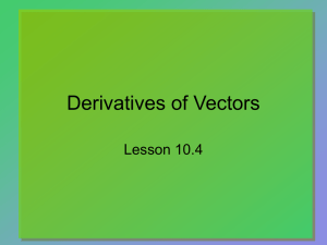 Derivatives of Vectors Lesson 10.4