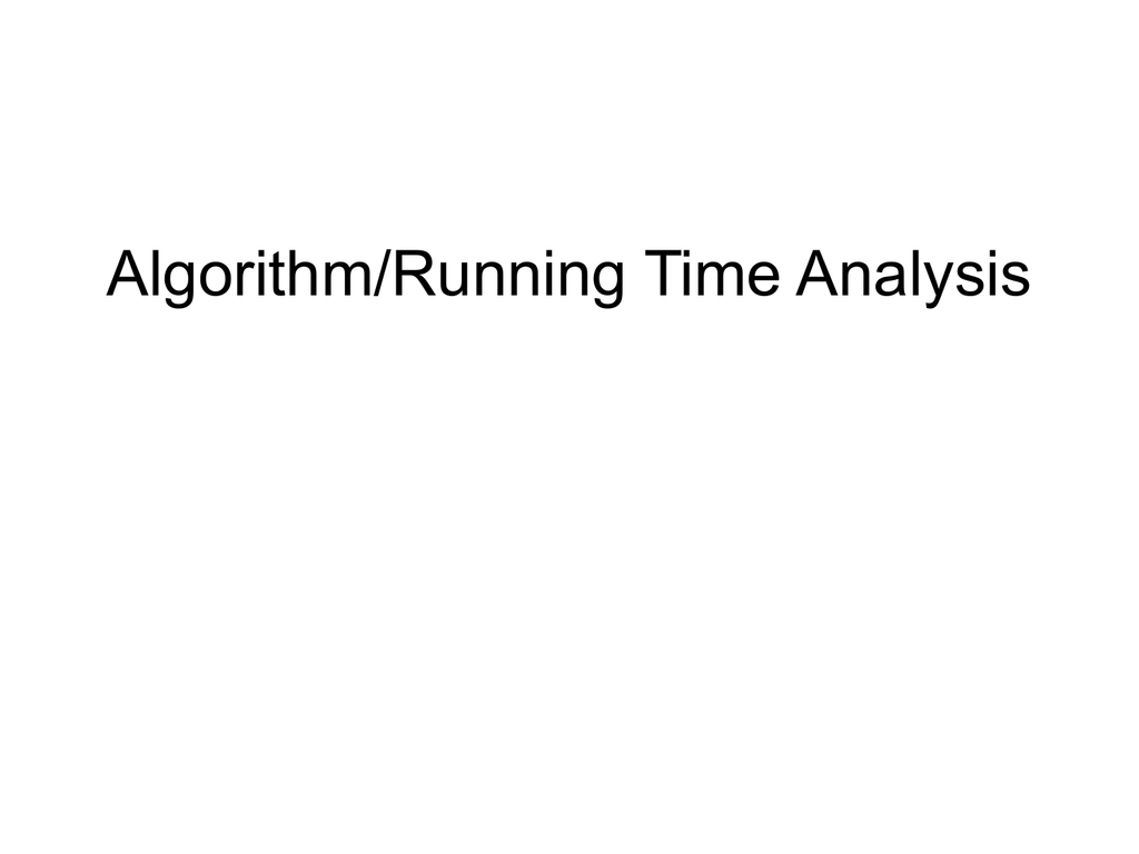 Algorithmrunning Time Analysis