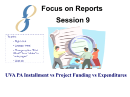 Session 9: UVA PA Installment vs Projecting Funding vs Expenditure