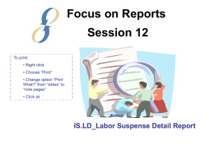 Focus on Reports Session 12