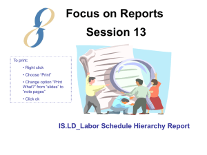 Focus on Reports Session 13