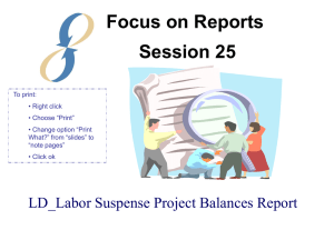 Session 25 - LD_Labor Suspense Project Balance Report