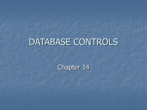 DATABASE CONTROLS Chapter 14