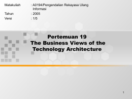 Pertemuan 19 The Business Views of the Technology Architecture Matakuliah