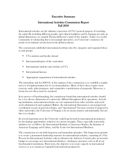 International Activities Commission Executive Summary Summer 2000