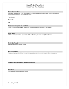 (Insert Project Name Here) Project Test Plan Template General Information